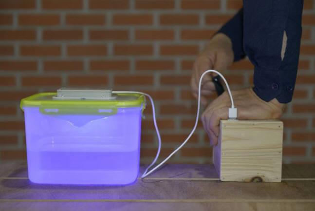 휴대용 UVC LED 물 살균기 시제품 이미지<사진 쉐어라이트>