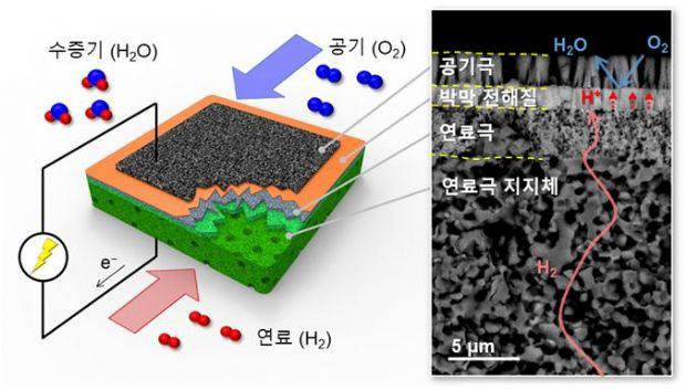 티스케일 기반 박막 PCFC의 미세구조 모식도 / (우) 전자현미경 이미지.