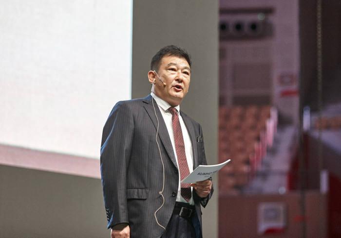 차이용썬 더블스타 동사장이 28일 금호타이어 비전 선포식에서 연설하고 있다.