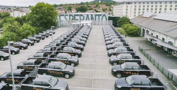 지난 6월 독일 프랑크푸르트 북동쪽 풀다(Fulda)에서 열린 렉스턴 스포츠(현지명 무쏘)의 독일 론칭 행사장 모습. (제공=쌍용자동차)