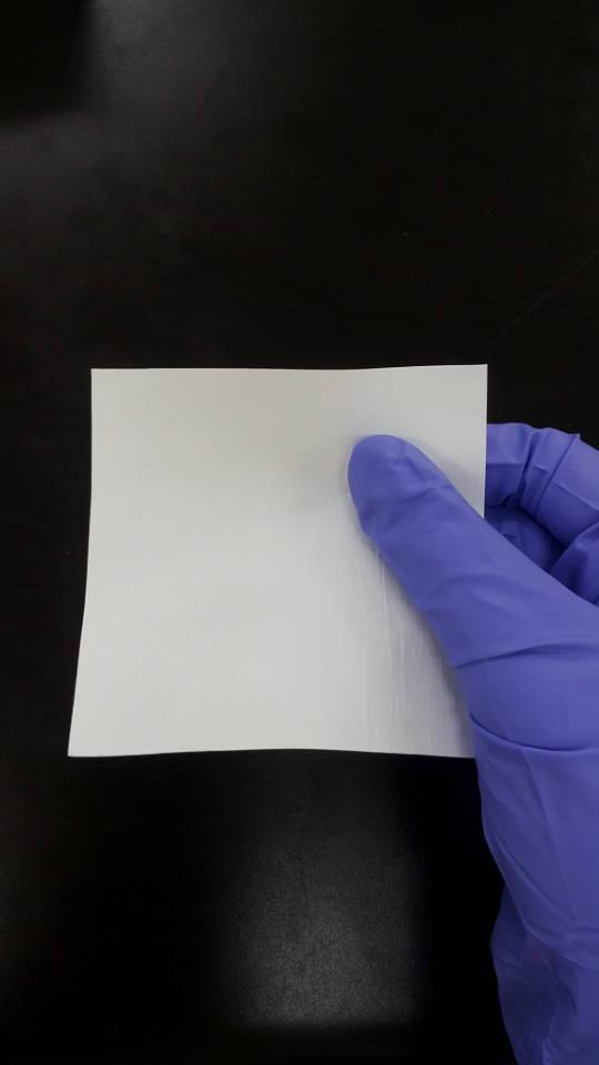 권오형 금오공대 교수가 개발한 얇은 종이형상을 띄는 나노섬유 부직포. 원바이오젠은 이 기술을 활용해 유착방지용 나노섬유시트를 제품화할 계획이다.