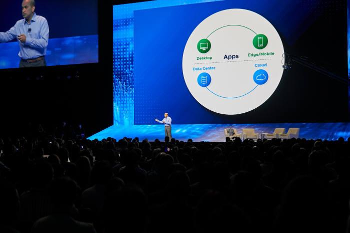 산제이 푸넨 VM웨어 고객부문 최고운영책임자(COO)는 28일(현지시간) 미국 라스베이거스에서 열린 콘퍼런스 VM월드 2018에서 현재 가장 혁신이 활발하게 일어나는 분야로 디지털 워크스페이스와 엣지 컴퓨팅 분야를 꼽으며, 이를 위한 지속적인 디지털 인프라 지원을 약속했다.