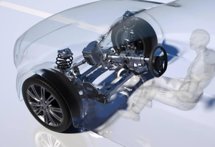 듀얼모드 조향장치를 장착한 자율주행차의 주행 모습 (제공=현대모비스)