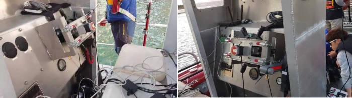 수상에스티가 개발한 지능형 무인 청항선 시연 모습
