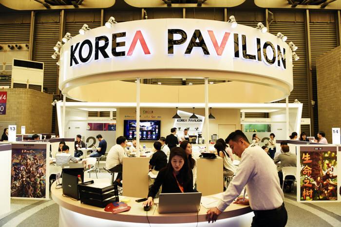 지난 3~6일 중국 상하이에서 개최된 차이나조이 2018 내 마련된 한국공동관.