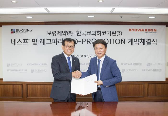 최태홍(왼쪽) 보령제약 사장과 나종천 한국쿄와하코기린 사장이 공동판매 계약 체결 후 악수를 하고 있다.