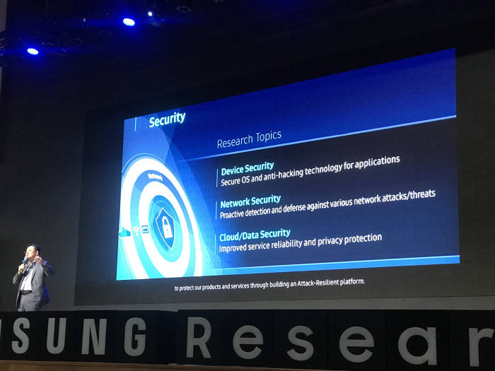 안길준 삼성전자 전무가 삼성전자 중점 보안 연구분야를 설명했다.