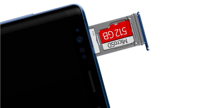 갤럭시 노트9에 탑재할 수 있는 512GB 마이크로 SD [사진=삼성전자 뉴스룸]