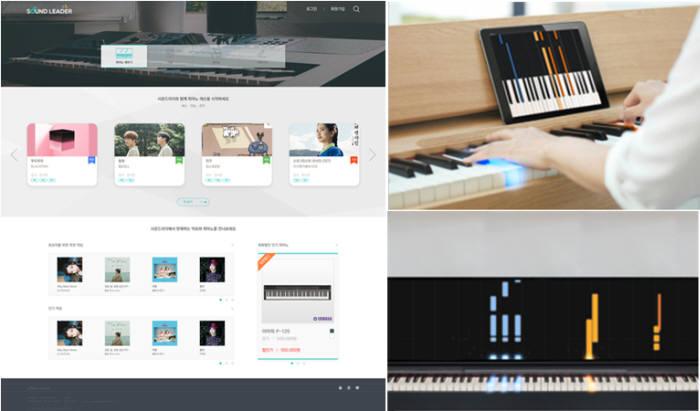 사운드리더가 개발하고 있는 피아노 온라인 통합 플랫폼(왼쪽)과 이지키보드