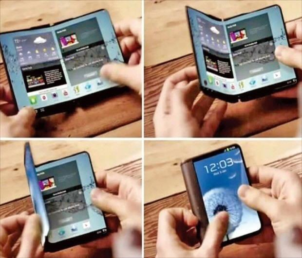 삼성이 공개한 영상에 나온 폴더블 스마트폰 컨셉 디자인. 삼성이 준비 중인 첫 폴더블폰은 이와 흡사할 것으로 예상된다.