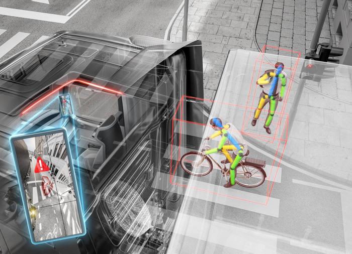 콘티넨탈 첨단 우회전 지원 시스템 인식 화면.