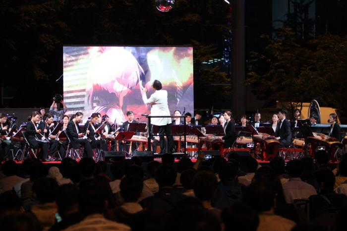 지난해 5월 12일 야탑역 광장에서 열린 게임&국악 음악회