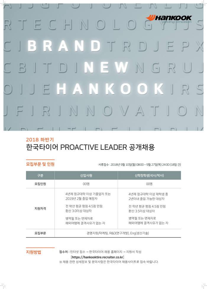 한국타이어 2018 하반기 프로액티브 리더 공개채용 포스터.