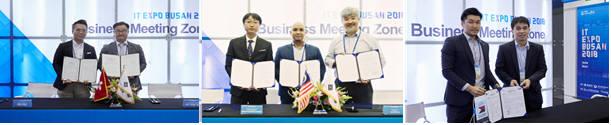 2018 K-ICT 위크 인 부산에서 체결된 참가기업과 해외 바이어의 MOU.