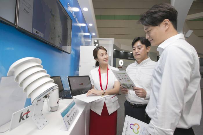 2018 사물인터넷 국제전시회에 참석한 관람객들이 KT 전시부스를 둘러보고 있는 모습