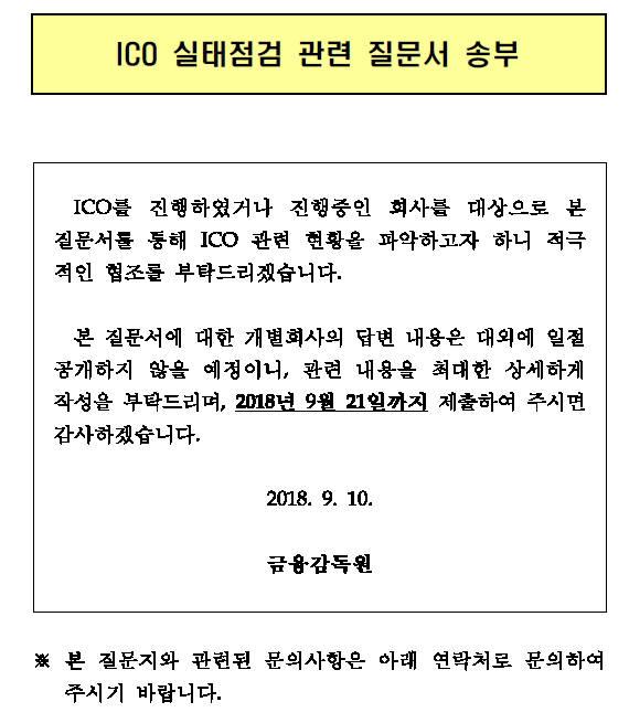 금융감독원이 암호화폐공개(ICO)기업 대상으로 전달한 ICO실대점검 관련 질문서