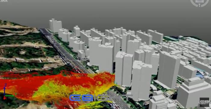 산사태 혹은 홍수 발생 시 예측 시뮬레이션 영상 캡쳐 이미지