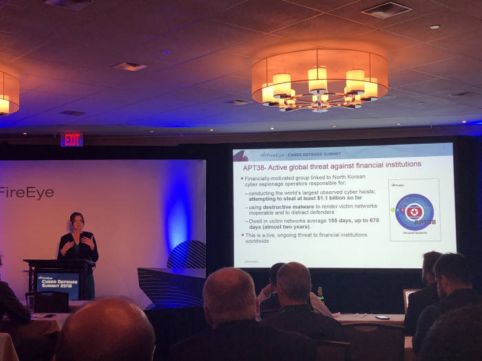 산드라 조이스 파이어아이 인텔리전스운영 부사장이 APT38 위협을 설명했다.