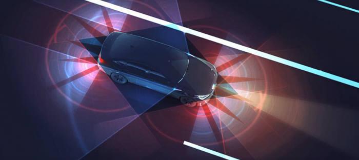 각종 센서가 적용된 자율주행차 가상 이미지.