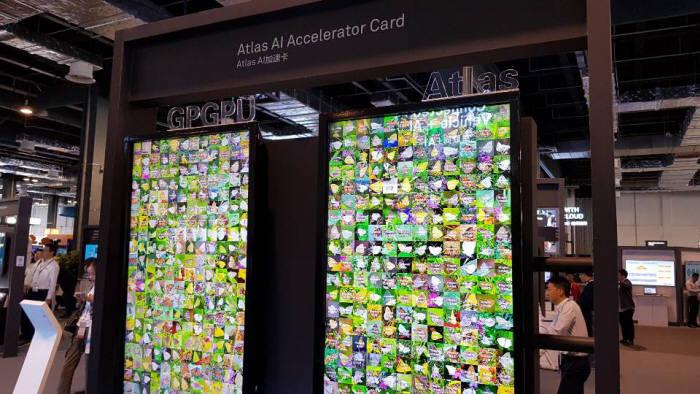 어센드 칩셋 기반 아틀라스 AI 가속 카드는 컴퓨팅 파워와 분석 속도를 높여준다. 일반 GPGPU(왼쪽)와 아틀라스 AI 가속 카드를 적용한 이미지 분석 시연 모습.