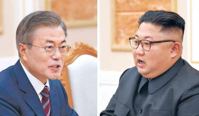 문재인 대통령과 김정은 북한 국무위원장.