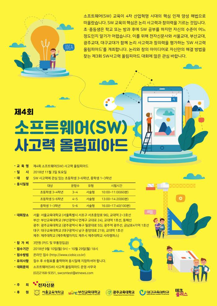 [알림]제4회 소프트웨어사고력 올림피아드, 11월 3일 개최...접수 마감 임박