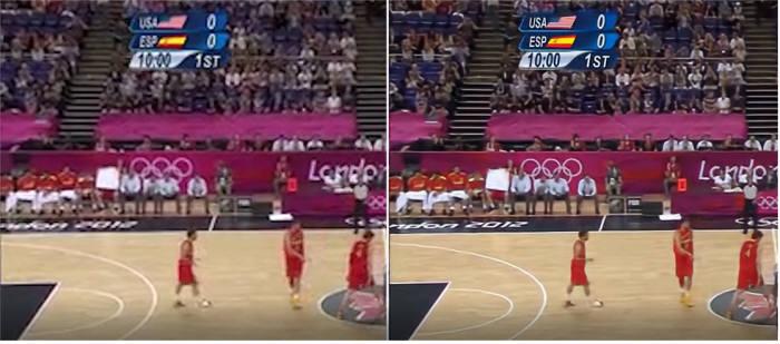 기존 방식(사진 왼쪽)과 KAIST가 개발한 딥러닝 기반 비디오전송기술(오른쪽) 화질을 비교한 모습