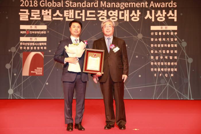 김성환 (주)21세기 대표(왼쪽)가 글로벌스탠더드경영대상을 수상한 후 VIP 장영철 피터드러커소사이어티 대표와 기념촬영했다.