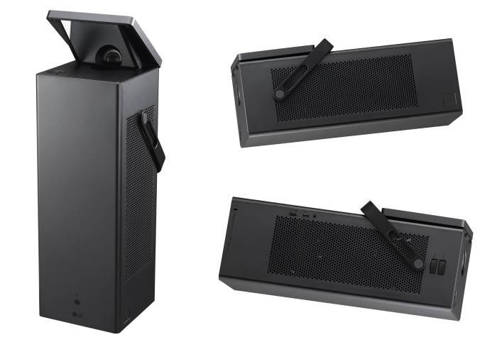LG 시네빔 레이저 4K의 실제 크기는 너비 16.5cm 정사각 밑면에 47cm 높이로, 데스크톱 본체 절반 수준. 무게 또한 6.7kg 정도로 10kg 쌀 한 포대보다 가볍다.