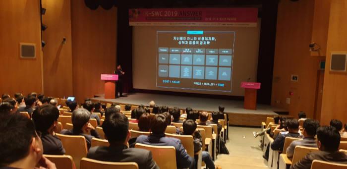 한국SW산업협회와 전자신문은 6일 역삼동 포스코 P&S타워에서 200여명이 참석한 가운데 코리아-SW 컨버전스 이노베이션 서밋 2019)을 개최했다. 이 서밋은 인공지능& 빅데이터& IoT 융합, 2019년 혁신적인 미래에 답하다는 주제로 페이스북코리아·한국IBM·씽크포비엘컨설팅 등 전문가들이 4차 산업 핵심기술들을 강연했다