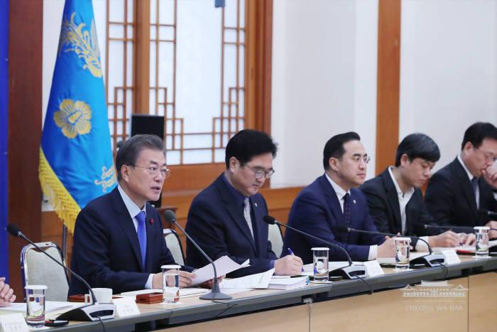 문재인 대통령이 1월 22일 청와대에서 열린 규제혁신 대토론회에서 모두 발언을 하고 있다. <사진:청와대 페이스북>
