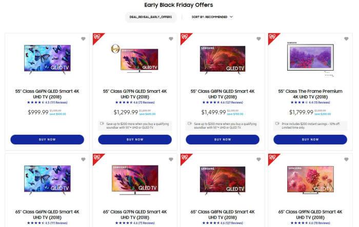 삼성전자는 북미법인 홈페이지를 통해 블랙프라이데이 사전 할인 판매를 시작했다.