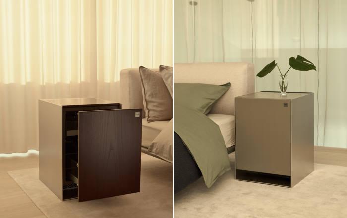 침실에 함께 배치된 LG 오브제 냉장고(왼쪽)와 가습 공기청정기