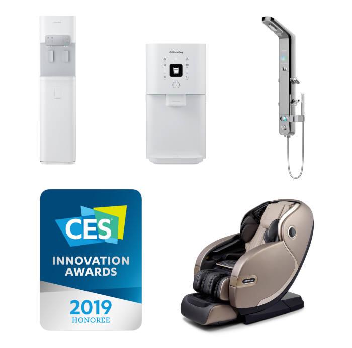 코웨이가 시루직수 정수기와 바디리프레셔 연수기, 킹스맨안마의자로 CES 혁신상을 받았다.