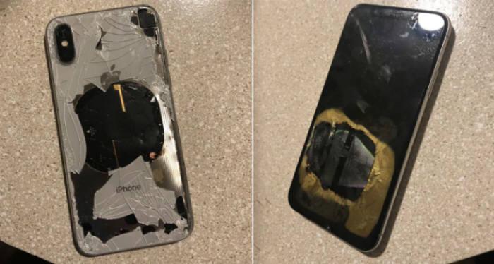 모하메드가 트위터에 공개한 아이폰X 폭발 증거 사진.