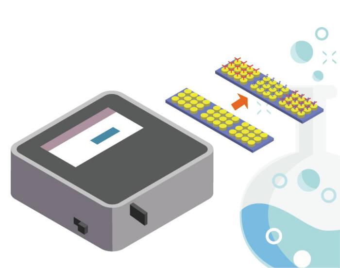 텔트론이 개발한 금속 나노패턴센서 기반 휴대형 실시간 식품 독소 측정기 개념도. <자료=나노기술연구협의회>
