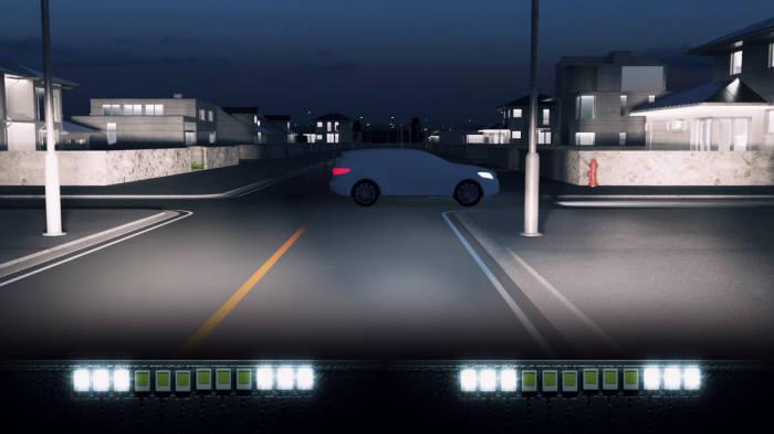 지능형 헤드램프(ADB) 작동 시뮬레이션 (제공=현대모비스)
