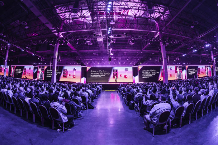 28일(현지시간) 미국 라스베이거스 AWS 리인벤트 2018 앤디 재시 아마존웹서비스(AWS) CEO 기조연설 현장모습. AWS 제공