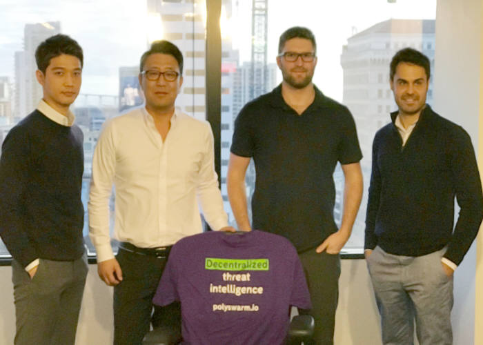왼쪽부터 잉카인터넷 김철현 팀장, 정영석 이사, 폴리스웜의 Paul Makowski ? CTO, Adrian Escude - CMO