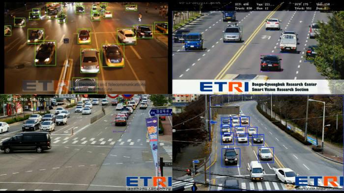 ETRI 개발 기술로 검출한 영상 기반 교통 정보 인식 객체
