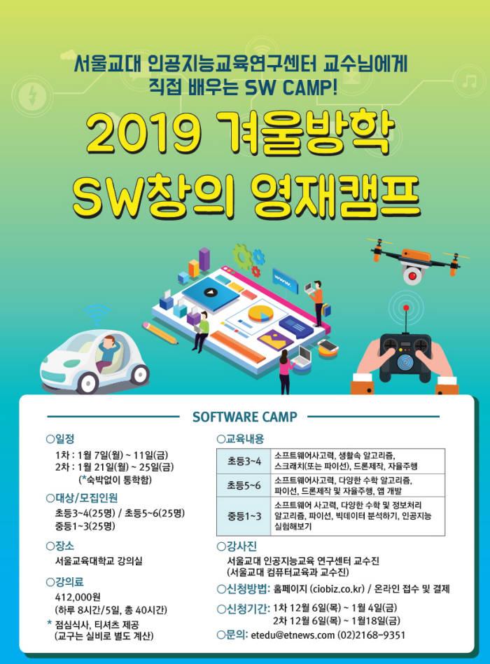 서울교대, 1~2월 초중등 대상 '2019 겨울방학 SW창의 영재 캠프' 개최