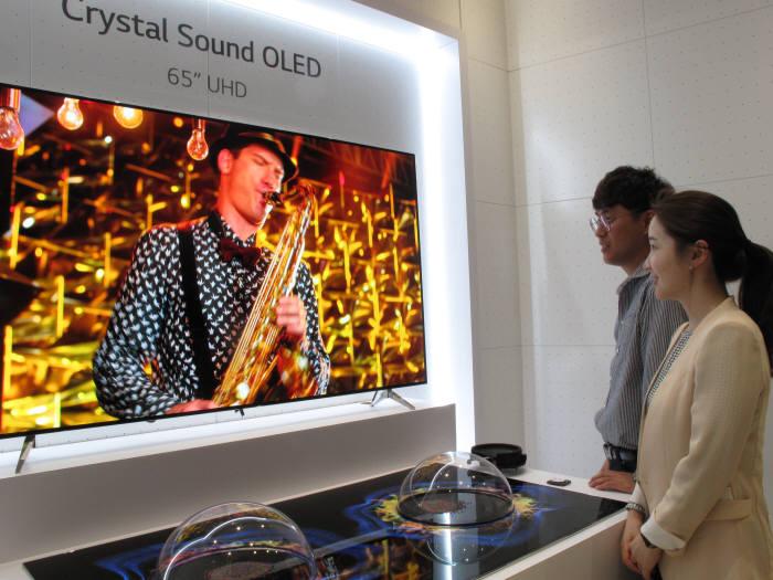 LG디스플레이가 개발한 65인치 UHD 크리스탈사운드OLED 패널. 별도 스피커 없이 화면에서 직접 소리가 나온다. (사진=LG디스플레이)