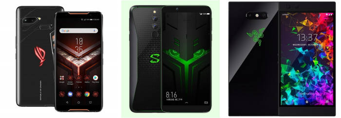 왼쪽부터 대만 에이수스의 ROG폰, 중국 샤오미의 블랙샤크 헬로, 미국 레이저(Razer)의 레이저폰 2
