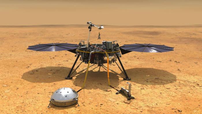 화성의 속살을 탐구하는 인사이트호의 3D 모델링. (출처: NASA)
