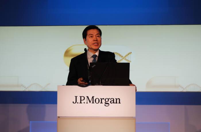 김태한 삼성바이오로직스 대표가 9일(현지시간) 미국 샌프란시스코에서 열린 JP모건 헬스케어 콘퍼런스에서 올해 주요 전략을 발표했다.
