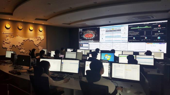 이글루시큐리티 통합보안관제센터 전경.