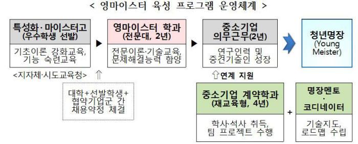 영마이스터 육성 프로그램 운영체계(자료:중기부)