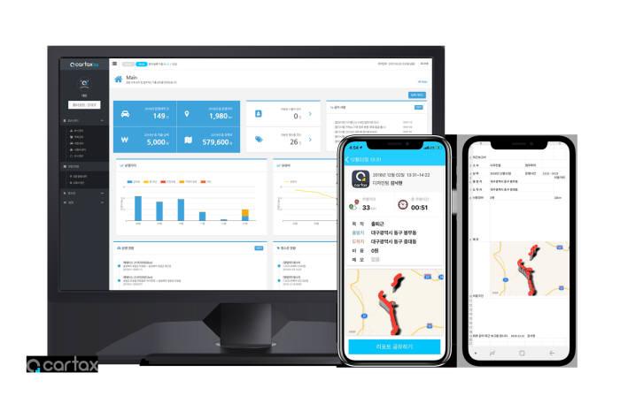 제이코프가 차량운행기록부 앱 카택스를 무료로 전환하고, 기능을 새롭게 추가한 카택스 플러스 버전을 출시했다. 사진은 카택스 관리자 페이지와 스마트폰 앱 화면.