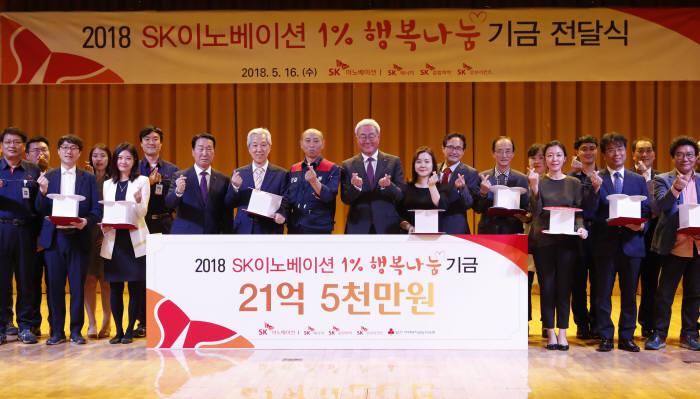 SK이노베이션이 지난해 5월 12개 기금 수혜 복지기관 관계자들이 참석한 가운데 1% 행복나눔 기금 전달식을 가졌다. [자료:SK이노베이션]