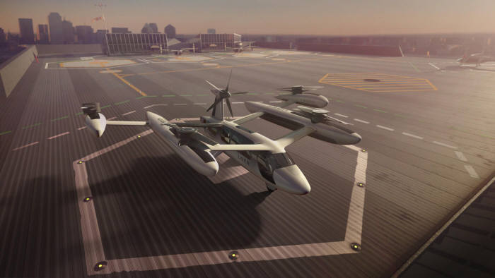 우버가 개발 중인 전기 수직이착륙기(eVTOL) 시제품 설계도